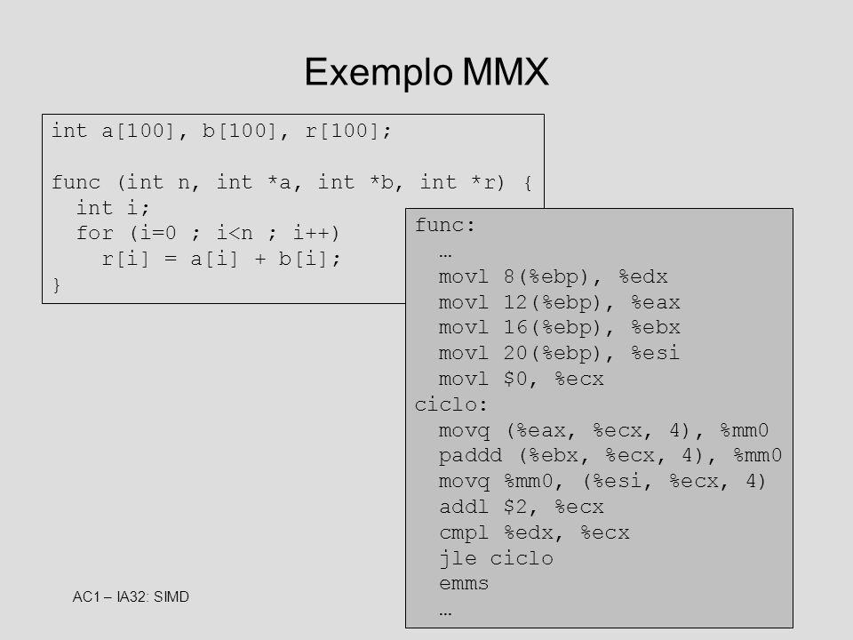 Exemplo MMX int a[100], b[100], r[100];